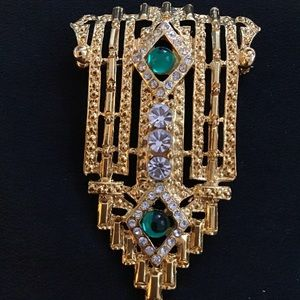 Art Deco Style Brooch Pin w Crystals